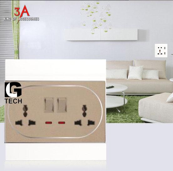 Ổ điện âm tương có công tắc và đèn báo led LGTECH OD2CT2