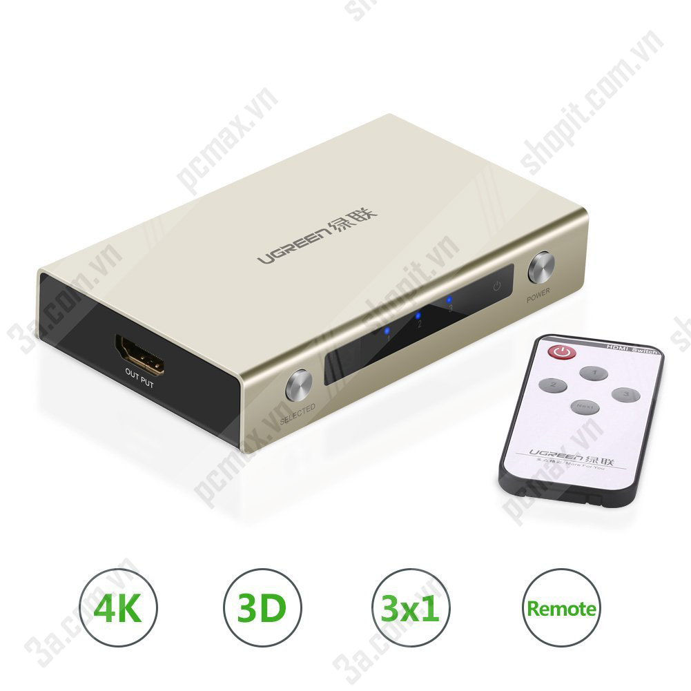 Bộ gộp tín hiệu HDMI 3 vào 1 chính hãng Ugreen 40278 cao cấp Bo-gop-tin-hieu-hdmi-3-vao-1-chinh-hang-ugreen