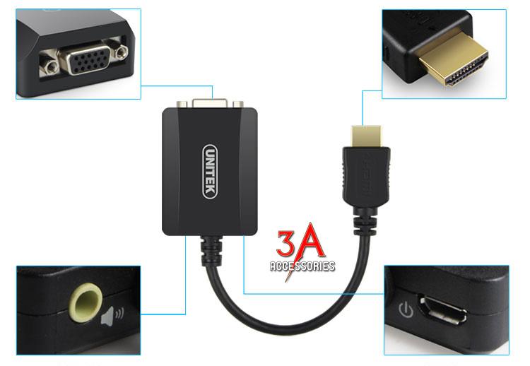 Cáp hdmi to vga và audio chính hãng cao cấp Unitek Y-5304