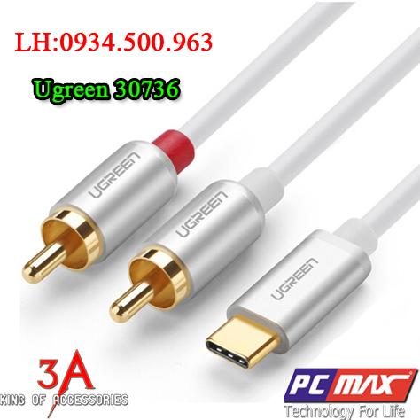 Cáp chuyển đổi USB Type C to RCA dài 2m chính hãng Ugreen 30736