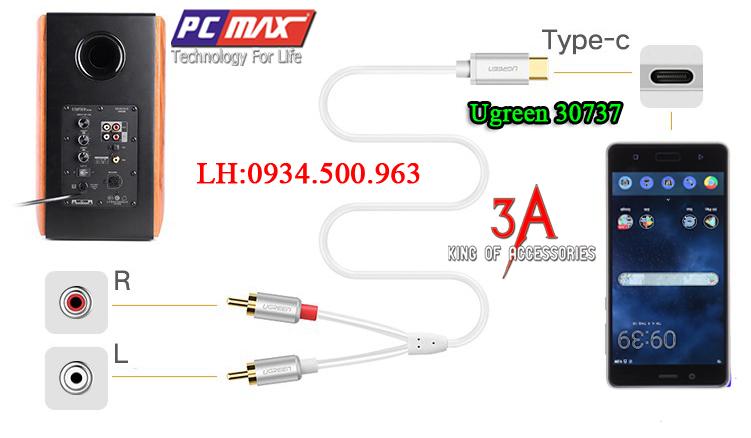 Cáp chuyển đổi USB Type C to RCA dài 3m chính hãng Ugreen 30737