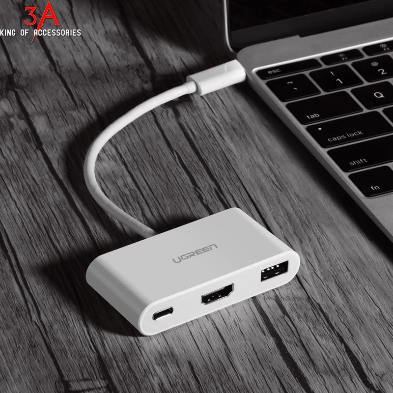 Cáp chuyển đổi USB type-C sang VGA, USB và USB type-C Ugreen 30376