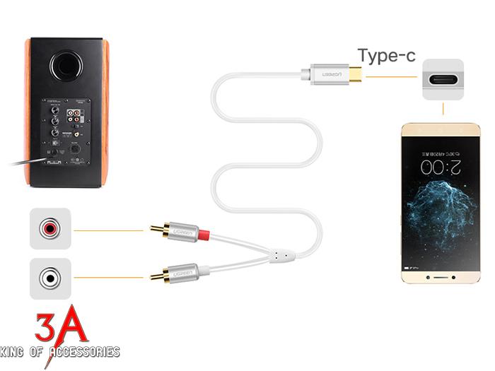 Cáp chuyển đổi USB Type C 3.1 sang RCA dài 1M cao cấp Ugreen 30734