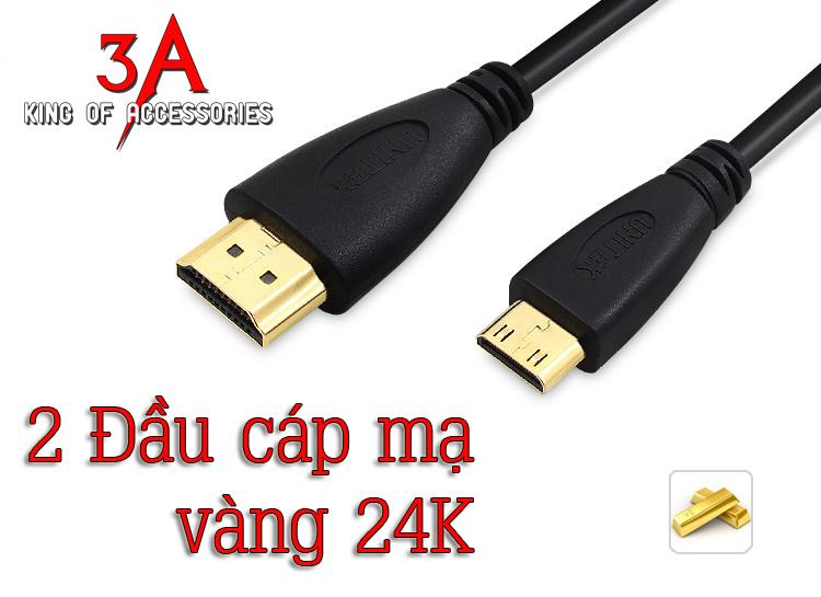 Dây cáp mini HDMI to HDMI 1.5m mã Y-C151 chính hãng Unitek tại Hà Nội