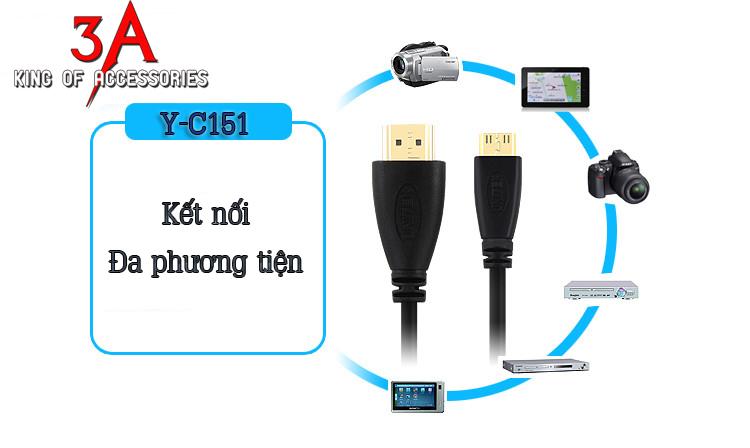 Cáp mini HDMI to HDMI 1.5m mã Y-C151 chính hãng Unitek tại Hà Nội