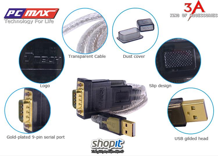 CÁP CHUYỂN ĐỔI USB TO COM RS232 HỖ TRỢ WIN8 DTECH DT-5002A