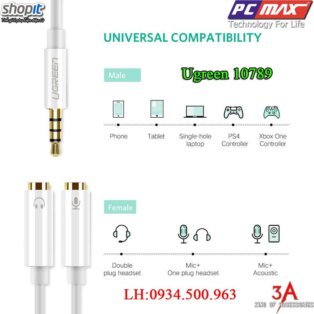 Dây chuyển đổi  Audio 3.5mm sang 2 đầu Audio 3,5mm chính hãng Ugreen 10789