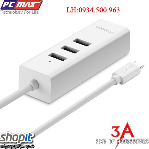 Bộ chia USB Type C sang Hub 3 Cổng USB 2.0 và 1  cổng Lan chính hãng Ugreen 20792