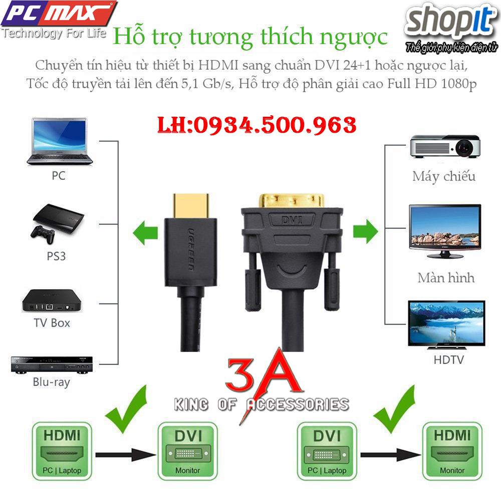 Cáp chuyển đổi HDMI to DVI dài 12m chính hãng Ugreen 30141