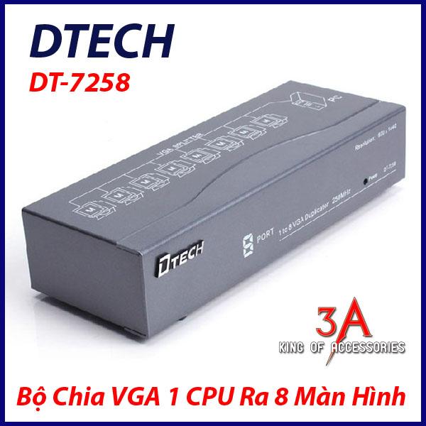 Bộ chia vga 1 cpu ra 8 màn hình - chính hãng DTECH DT-7258 cao cấp